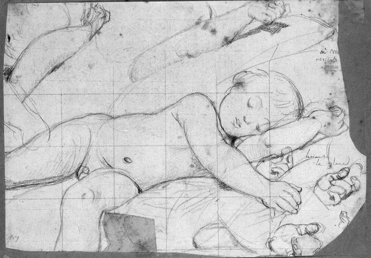 L'Enfant Jésus (avec diverses variantes pour le bras et la main gauches). Collé : visage (sommaire)_0