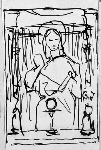 Vierge à l'hostie (Ensemble de la composition, croquis)_0