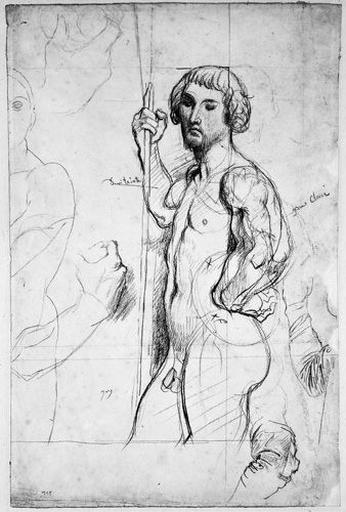 Saint Alexandre Newski (nu), la Vierge (nue, au trait), deux mains (refermées autour d'un objet) et deux bras_0