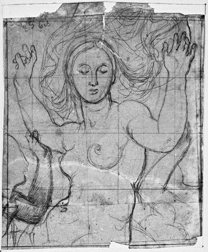 La Vierge (à mi-corps) et les anges adorateurs (seule la main de celui de droite est visible)