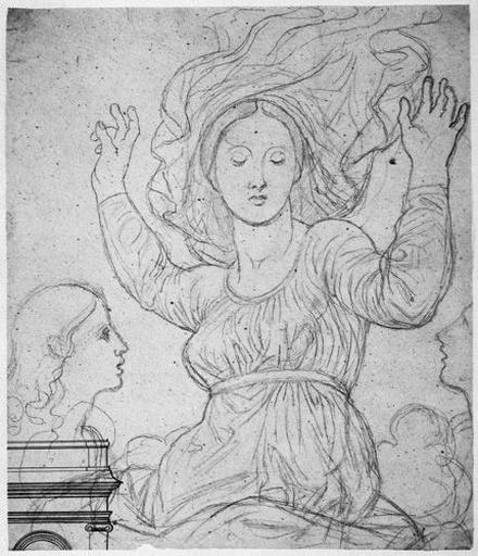 La Vierge et les deux anges (et un motif d'architecture à la plume)_0