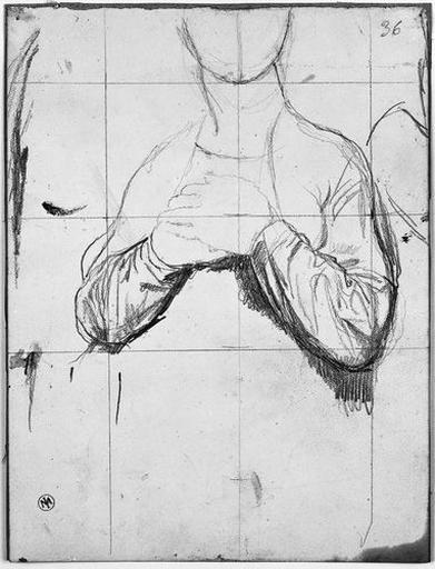 La Vierge (ses bras. Verso : LA VIERGE, deux études de buste, avec ses mains l'une sur l'autre ou sur les épaules.)_0