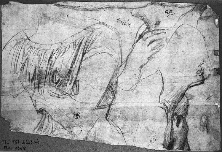 Anges adorateurs (celui de gauche, et main et menton de celui de droite) et la Vierge (sans doute son buste, sans manteau)_0
