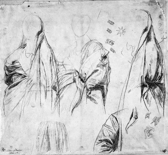 La Vierge (trois études pour son manteau, une manche, une jupe, détails du galon, de l'étoile) et vague croquis d'un personnage (couché ?, le bras levé)_0