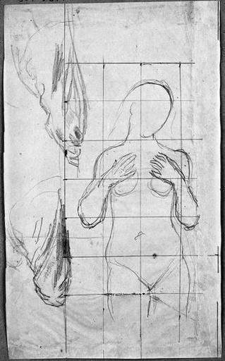 La Vierge (Nue, les mains sur les seins, et deux études de drapé)_0