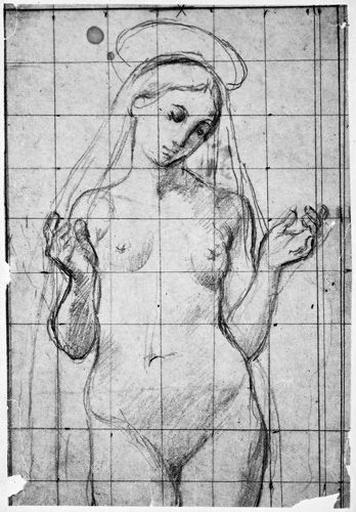 La Vierge (Nue, tête inclinée, les bras pliés)