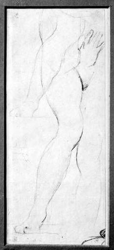 La Vierge (sa main gauche et étude de ses jambes nues, avec reprise de la jambe gauche). Verso : vague croquis