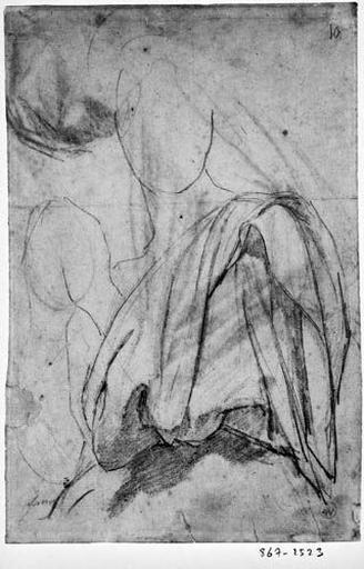 La Vierge (Sa draperie, le profil de ses mains et de son visage). Verso : La Vierge, étude du drapé des bras et deux autres motifs_0