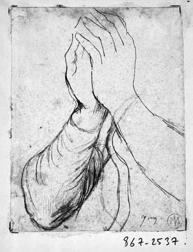 La Vierge (ses mains). Verso : quelques traits_0