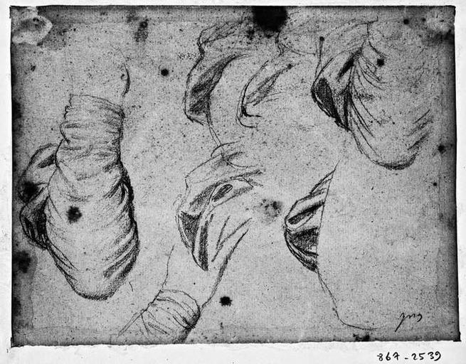 La Vierge (sept études pour sa manche droite). Verso : Louis XIII (?), draperie (1820 ?)_0