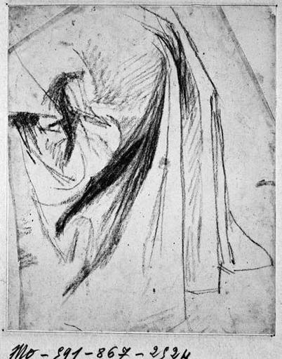 La Vierge (?, draperie au niveau de l'épaule)