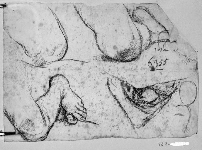 Anges de gauche ((?) deux genoux en raccourci, jambe en perspective, détail non identifiable)_0