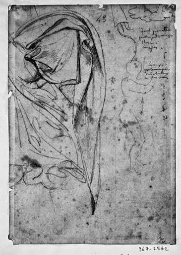 La Vierge (draperie de son épaule) et angelots nus portant les candélabres. Verso : Etude pour l'architecture