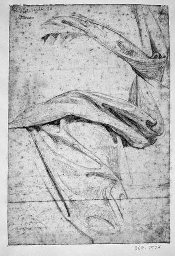 La Vierge ((deux études pour son manteau). Verso : La Vierge (autre détail pour le manteau))
