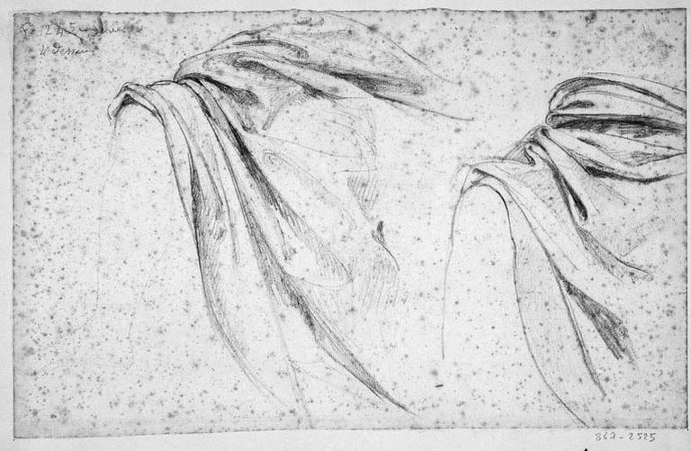 La Vierge (deux études pour son manteau et sa jambe nue). Verso : La Vierge (étude complète de la jambe droite)