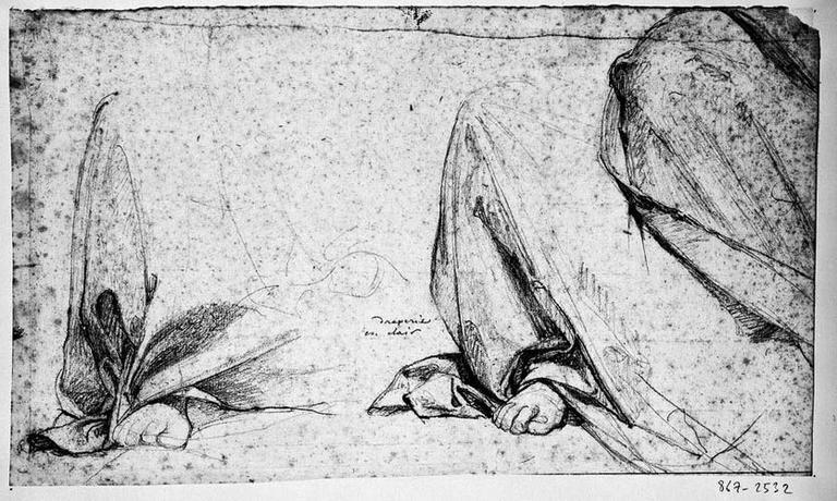 La Vierge (Deux études pour le drapé au-dessus du pied droit, et genou droit drapé)_0