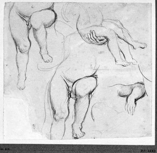 L'Enfant (quatre études). Verso : La Vierge (étude de sa jambe avancée)_0