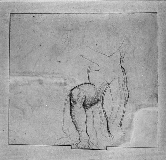 L'Enfant (quatre études). Verso : La Vierge (étude de sa jambe avancée)
