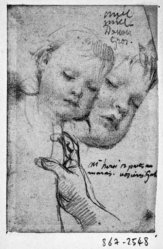 Putti des nuages (?) (deux têtes d'enfants) et main (pour un ange tenant un rideau ou un putto tenant le cartel)_0
