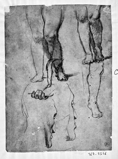 Putto droit (tenant le cartel : ses jambes et sa main) et Louis XIII (deux profils perdus)_0