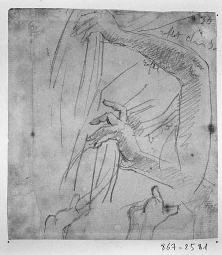 Ange de gauche (Quatre études de bras et mains soulevant un rideau)