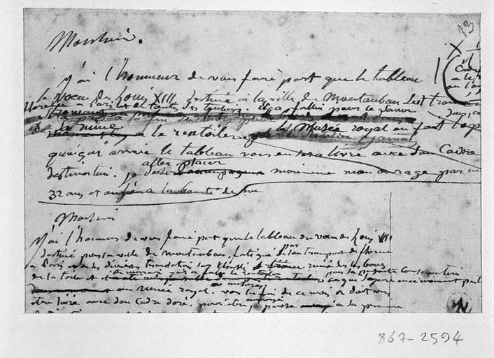 Brouillon de lettre d'Ingres (Sur la restauration du 'Voeu de Louis XIII'). Verso : Apothéose d'Homère ? Homme lauré_0