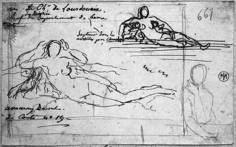Jeune femme nue, couchée (arrangeant ses cheveux, et reprise du motif où elle est alors soutenue sous les bras par deux Amours) et Silhouette de femme (la main sous la tête)