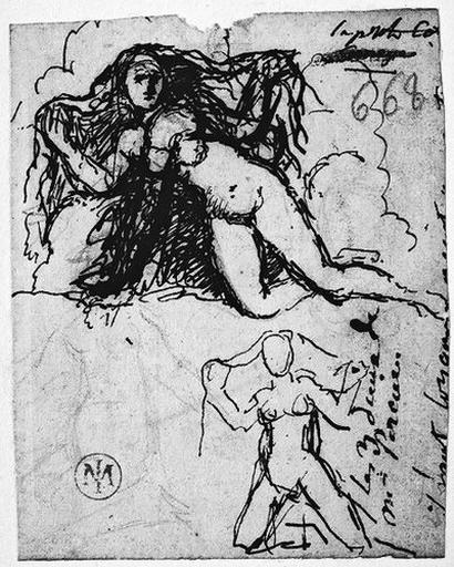 Femme nue agenouillée (Ecartant ses cheveux de ses deux mains, et reprise au-dessous.)_0
