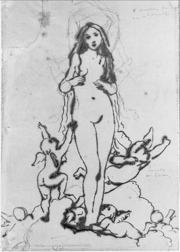 Vénus et les Amours (Sur des nuages, avec variantes pour les bras de Vénus)_0