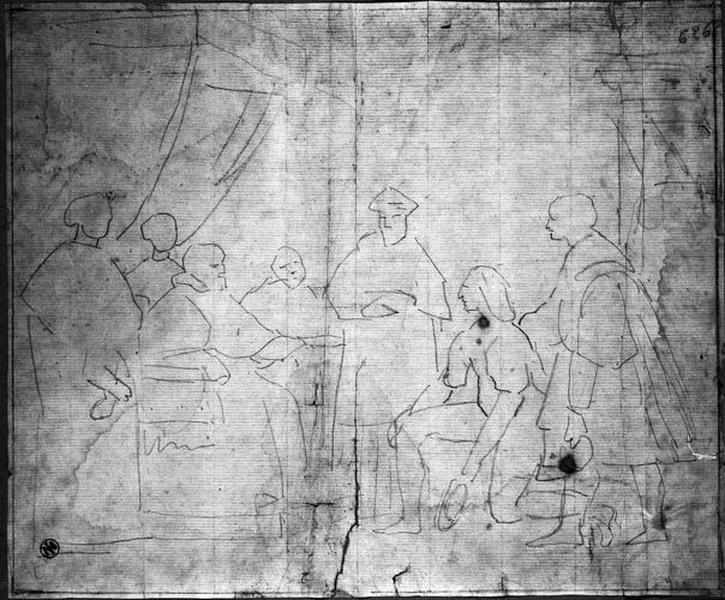 Raphaël présenté au pape (Silhouettes : Raphaël, un genou en terre, devant le pape assis sur un trône)_0