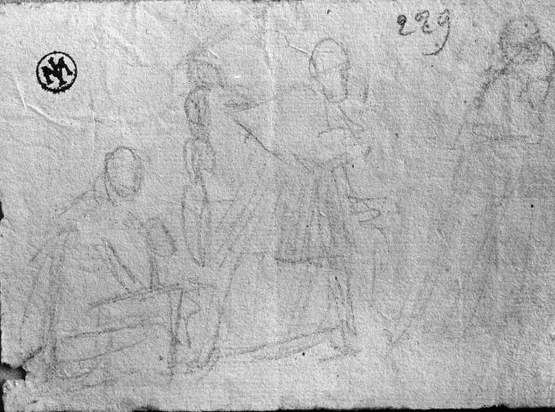 La Mort de Raphaël (Vague croquis à quatre personnages, dont un assis)