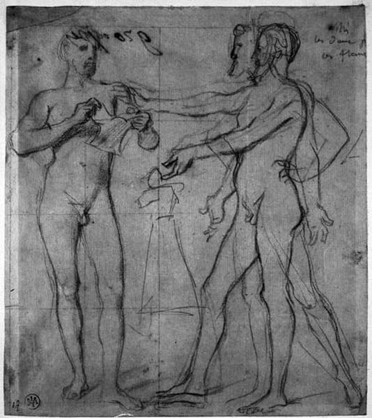Sully déchire la promesse de mariage (Devant Henry IV, tous deux nus, avec variantes d'attitude pour le roi.)_0