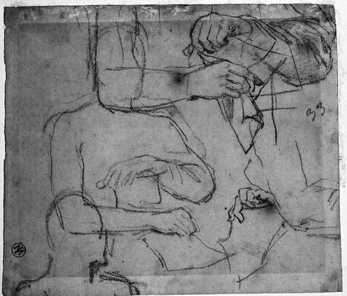 Sully (La silhouette de son buste et ses mains, en plusieurs études)