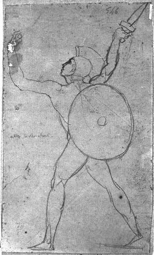 Guerrier nu (de dos, marchant vers la gauche, portant un bouclier et une épée.)_0