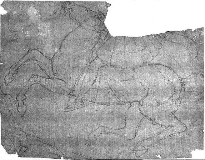 Cheval cabré (vers la gauche ; on ne voit que les jambes du cavalier)_0