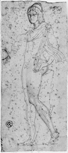 Statue antique d'un jeune homme nu (debout, de profil à gauche, tenant de la main gauche son épée dans son fourreau)