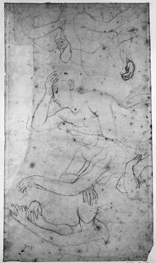 Femmes nues (L'une appuie sa tête sur sa main ; d'autres font le geste de jouer de la harpe.)_0