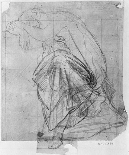 Ossian endormi (Etude pour la draperie, notamment sur les jambes.)_0