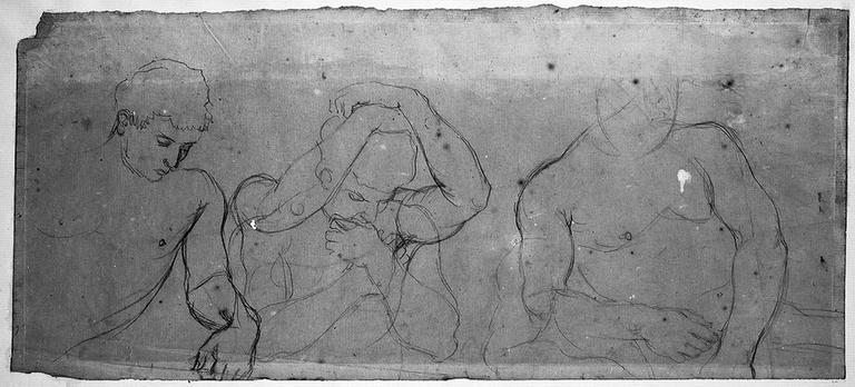 Trois guerriers (nus, en buste)