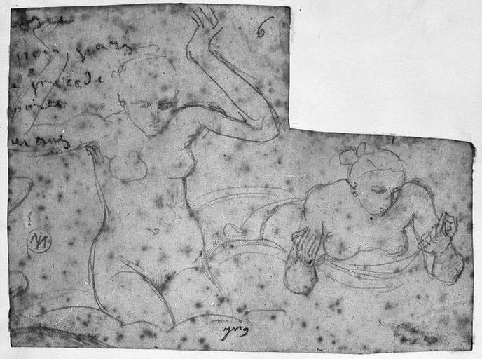 Deux Femmes nues sur des nuages (L'une agenouillée, les bras levés ; l'autre, inclinée en avant, semble tenir une chaîne ou un collier. Verso : Vagues motifs )_0