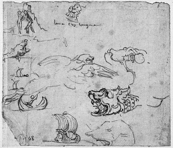 Croquis pour le décor et les accessoires (Tête de monstres, barque, etc.)