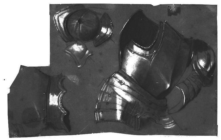 Une cuirasse (et deux détails d'armure). Verso : (Stratonice) Sleucos (sa main droite et le haut de son corps)_0