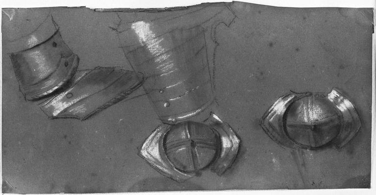 Brassard et cuissard (Et deux autres détails d'armure). Verso : (Stratonice) Main prenant un bras_0