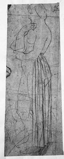 Femme (en partie nue) ; (Jésus remettant les clés à saint Pierre) Trois apôtres (leurs têtes)_0