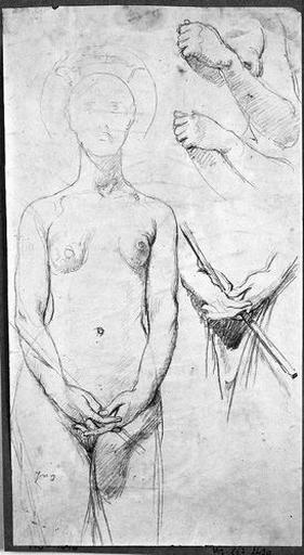 Sainte Amélie (Nue, de face, avec trois reprises des mains)_0