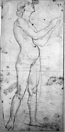 Saint Charles Borromée (Nu, de profil à droite, d'après un modèle féminin)_0