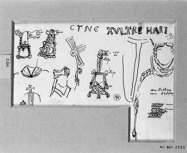 Accessoires de costumes (Dont aumônières pour sainte Adélaïde, crosse et coiffure de saint Robert et coiffure de sainte Clotilde)