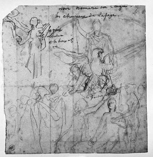 Napoléon Ier et l'aigle (Napoléon III couronné à côté d'une femme (et deux autres petits groupes, légèrement esquissés).)_0