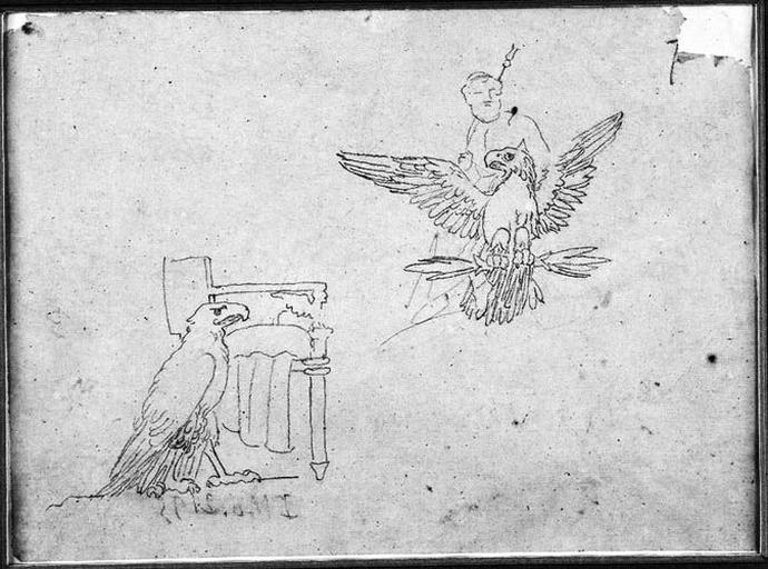 Jupiter sur un aigle (Apothéose de Napoléon Ier), Aigle près d'un trône