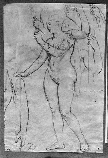 La Religion (Nue, de trois quarts à gauche, tendant le bras, avec de nombreuses reprises du bras gauche tenant une hampe)